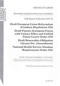 24th Report of Session 2015-16 Draft European Union Referendum (Conduct) Regulations 2016