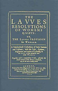 The Lawes Resolutions of Womens Rights